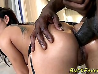 Assfucked beauty enjoys threesome