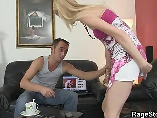 Dude rough punishes his cheating blonde gf