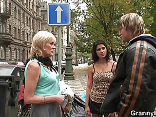 Granny prostitute pleases an young dude