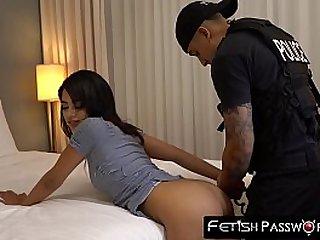 Teenie Maya Bijou hammered by a cop
